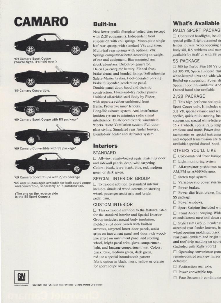 gm 1969 chevrolet camaro sales brochure