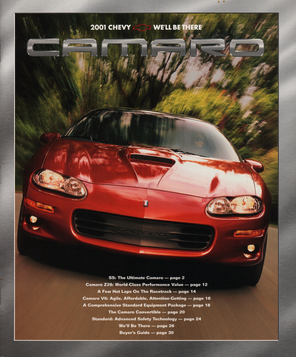 gm 2001 chevrolet camaro sales brochure. Black Bedroom Furniture Sets. Home Design Ideas