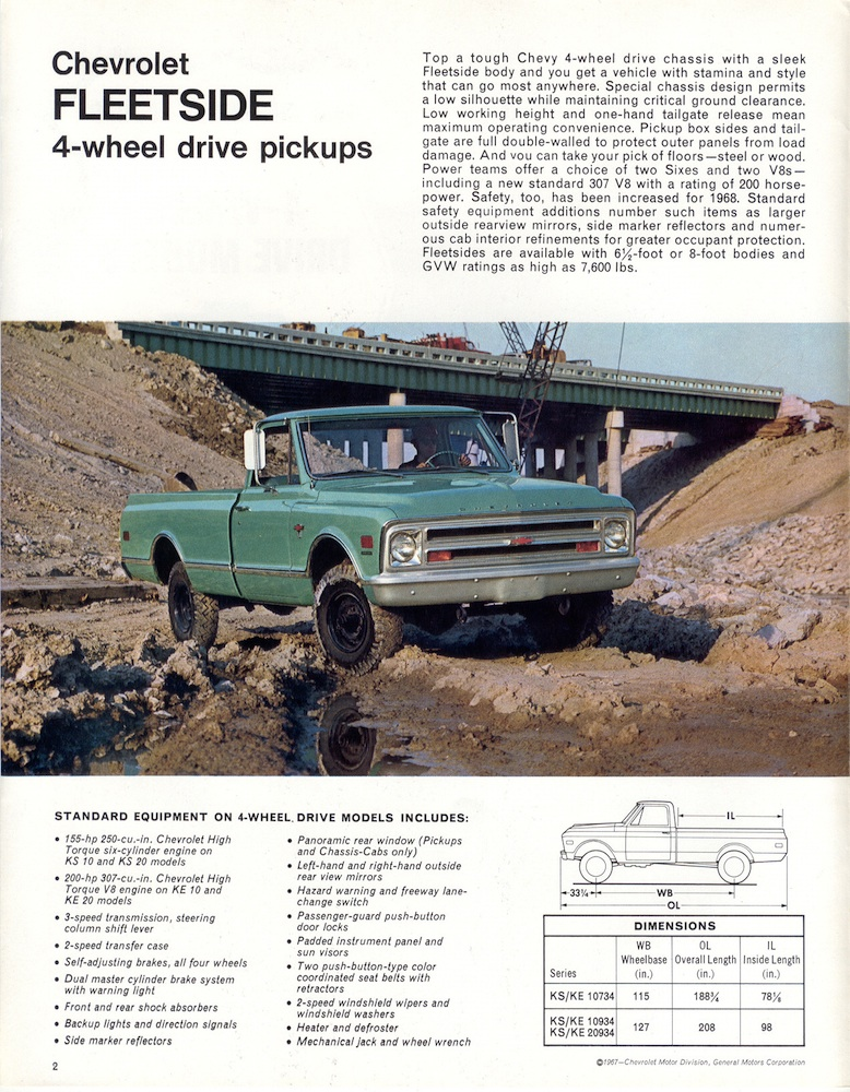 1967 chevy pickup dimensions