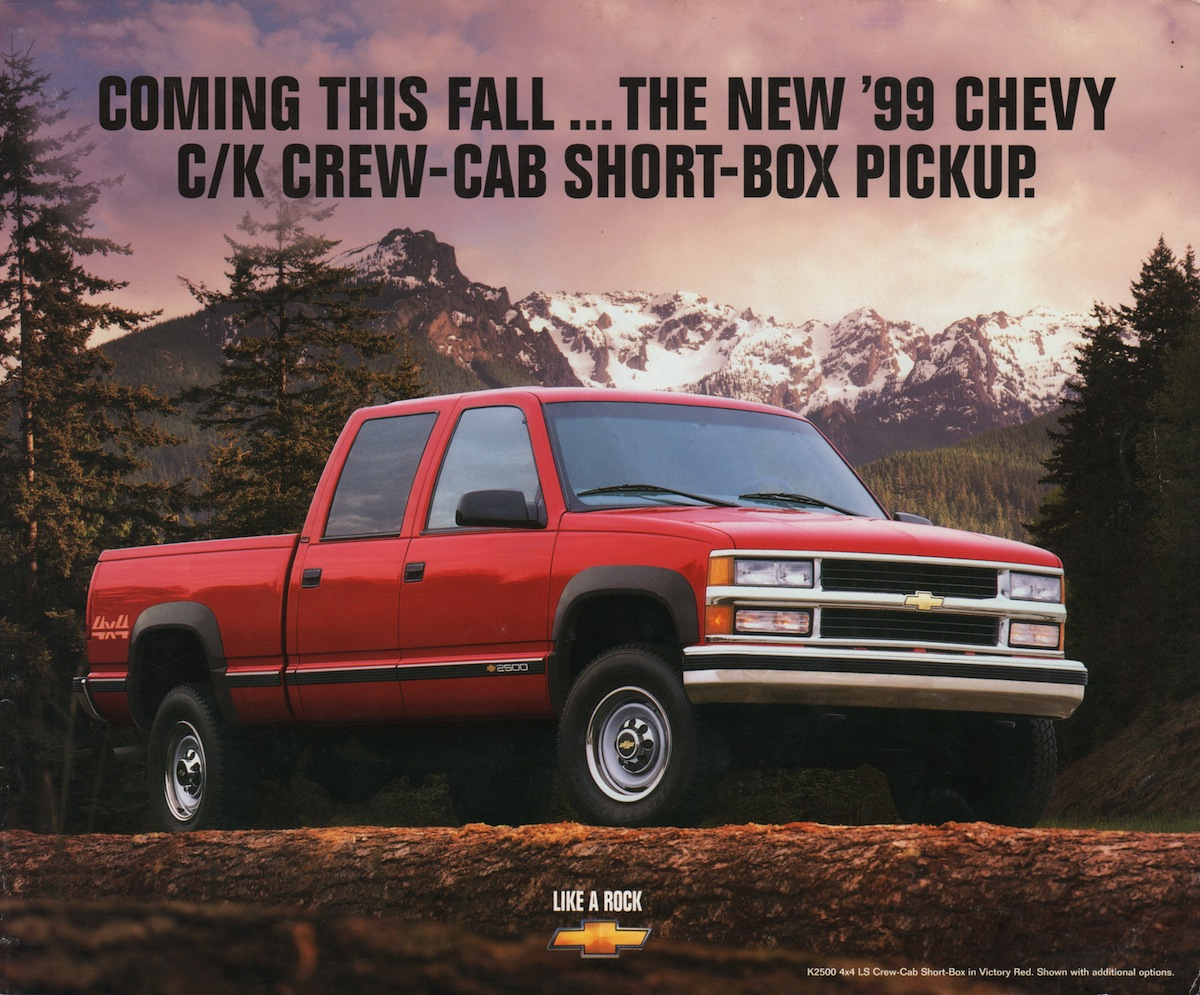 Gm 1998 Crew Cab Short Box Pickup Chevy Truck Sales Brochure