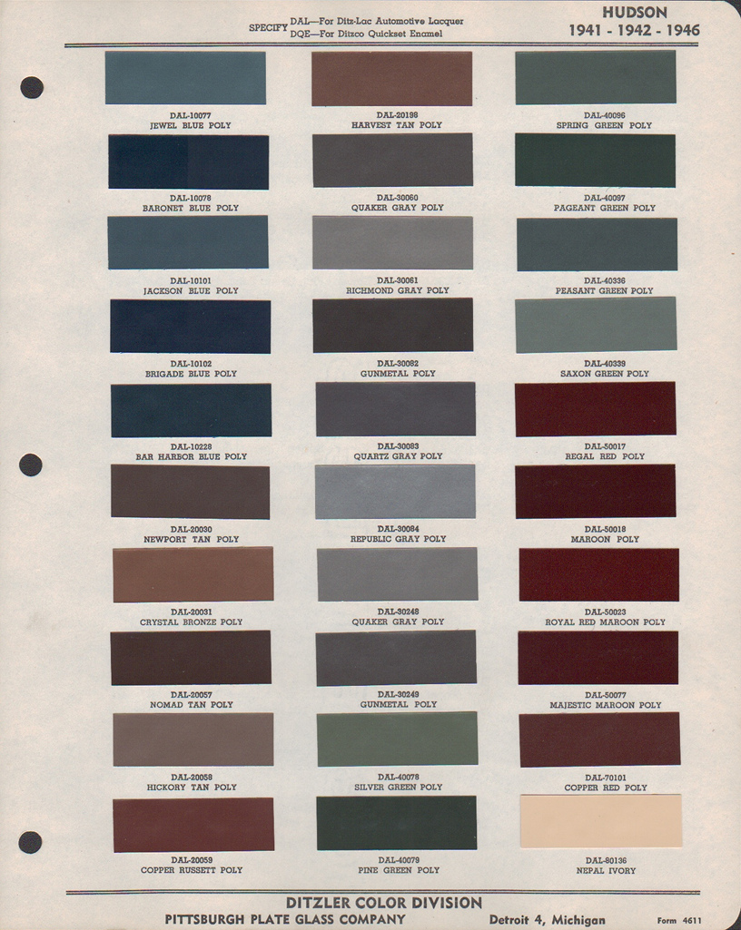 Paint chips 1946 hudson paint chip pages are presented for research use only company marks emblems and page design are trademarks andor service marks of ppg nvjuhfo Images