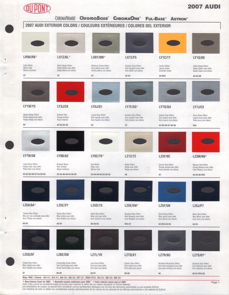 Paint Chips 2007 Audi A3