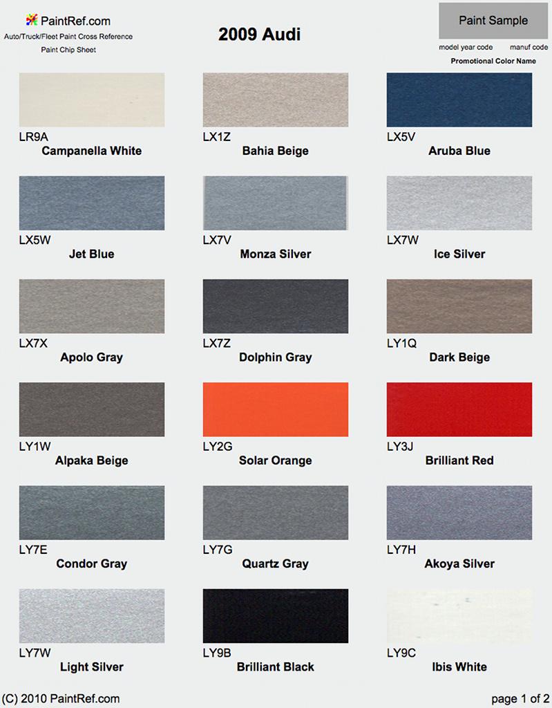 Paint Chips 2009 Audi