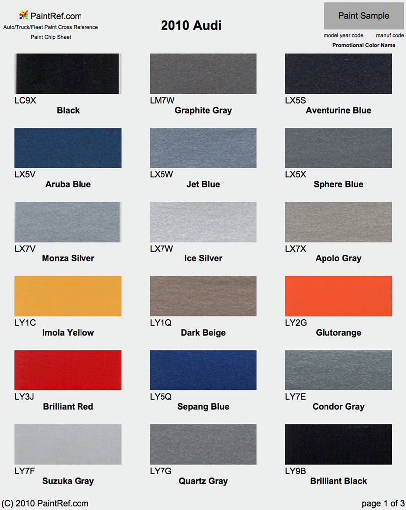 Audi Color Chart Pictures To Pin On Pinterest Pinsdaddy