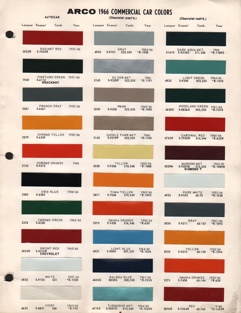 1966 Gm Color Codes Chevy Truck Paint Cross Reference