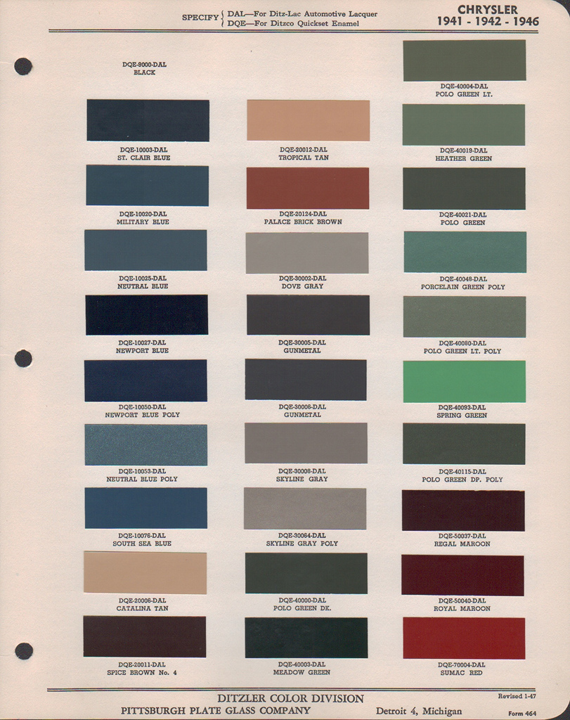 Paint Chips 1941 Chrysler Plymouth
