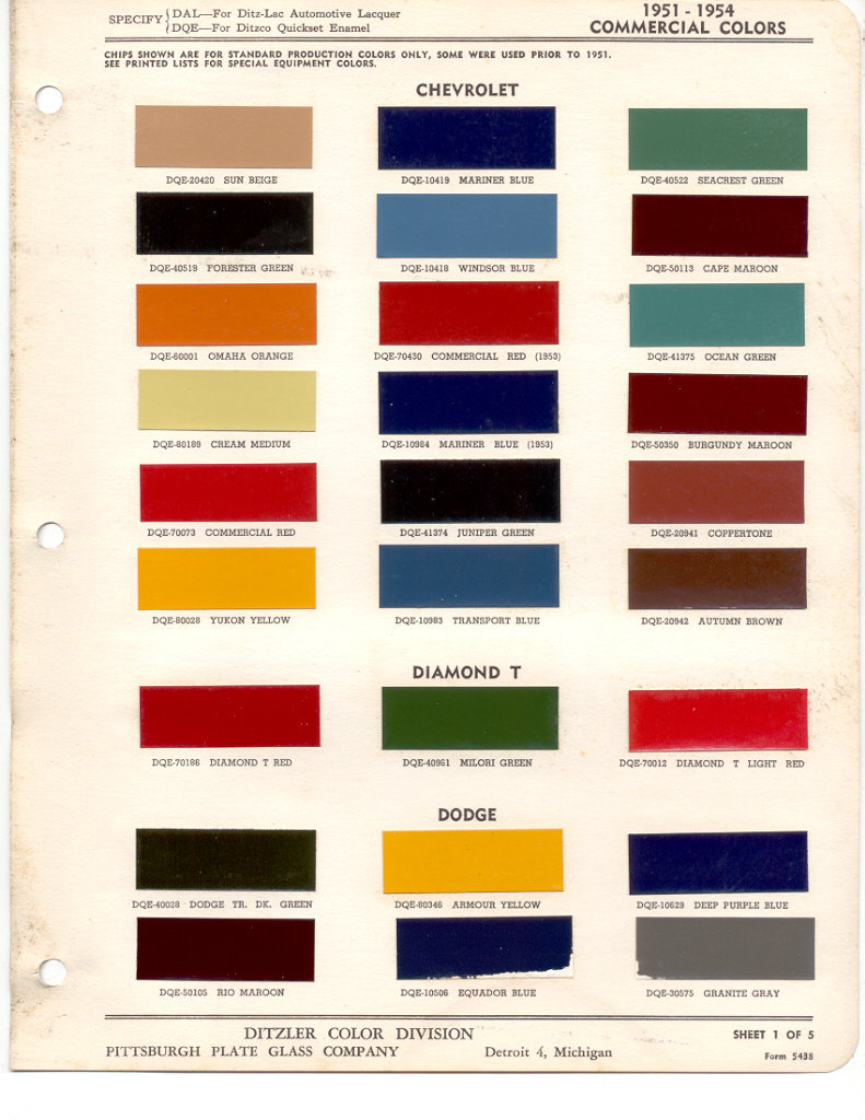 Paint chips 1951 dodge truck fleet commercial nvjuhfo Images