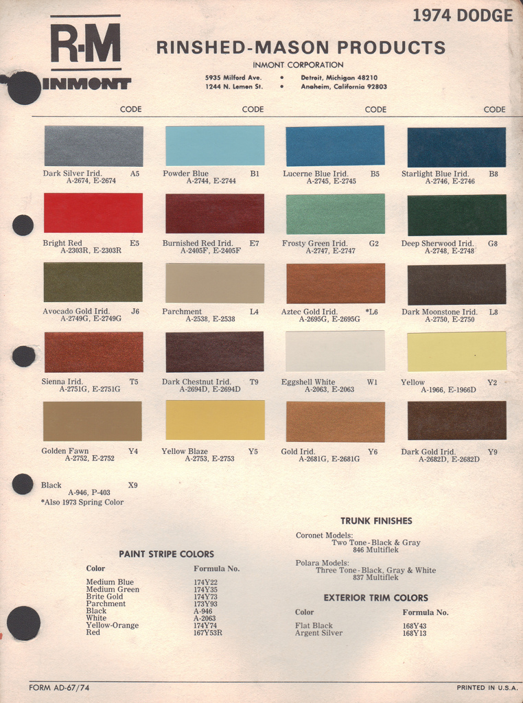 paint chips 1974 dodge