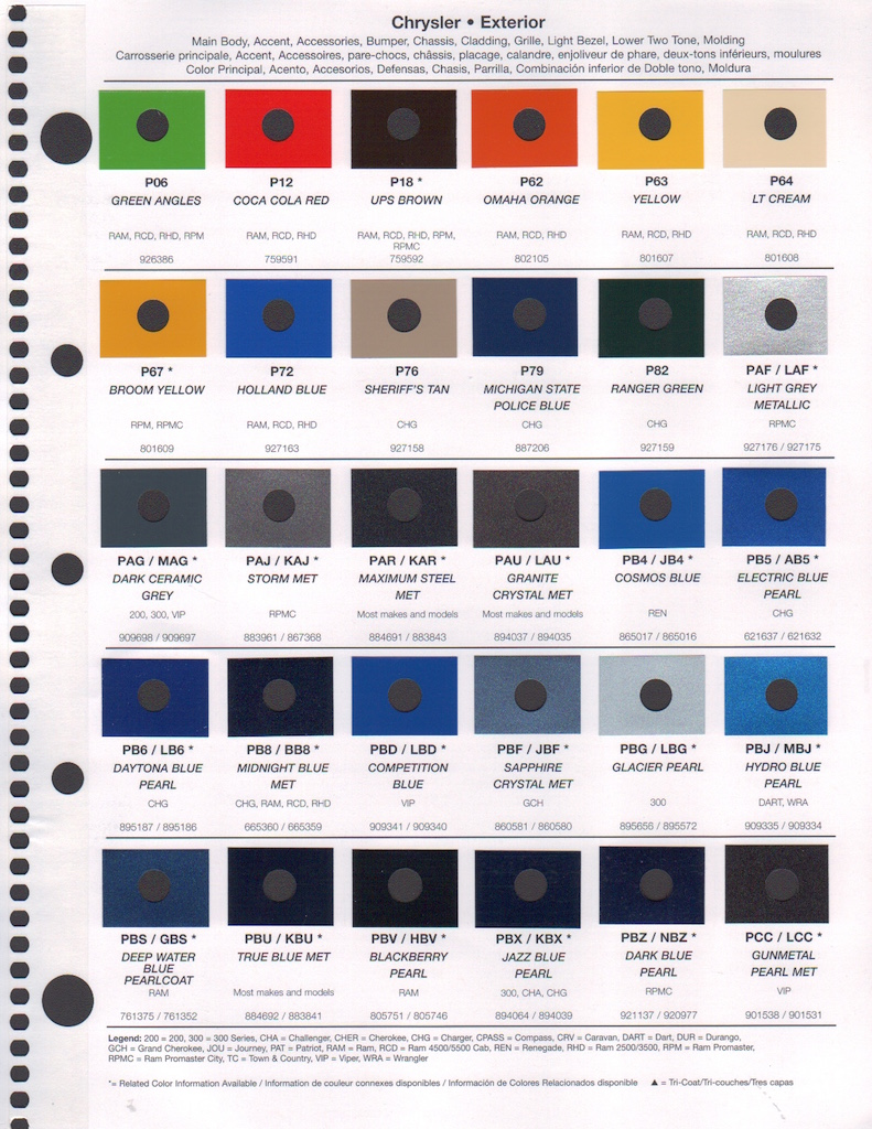 chrysler paint color chart - Tulum.smsender.co