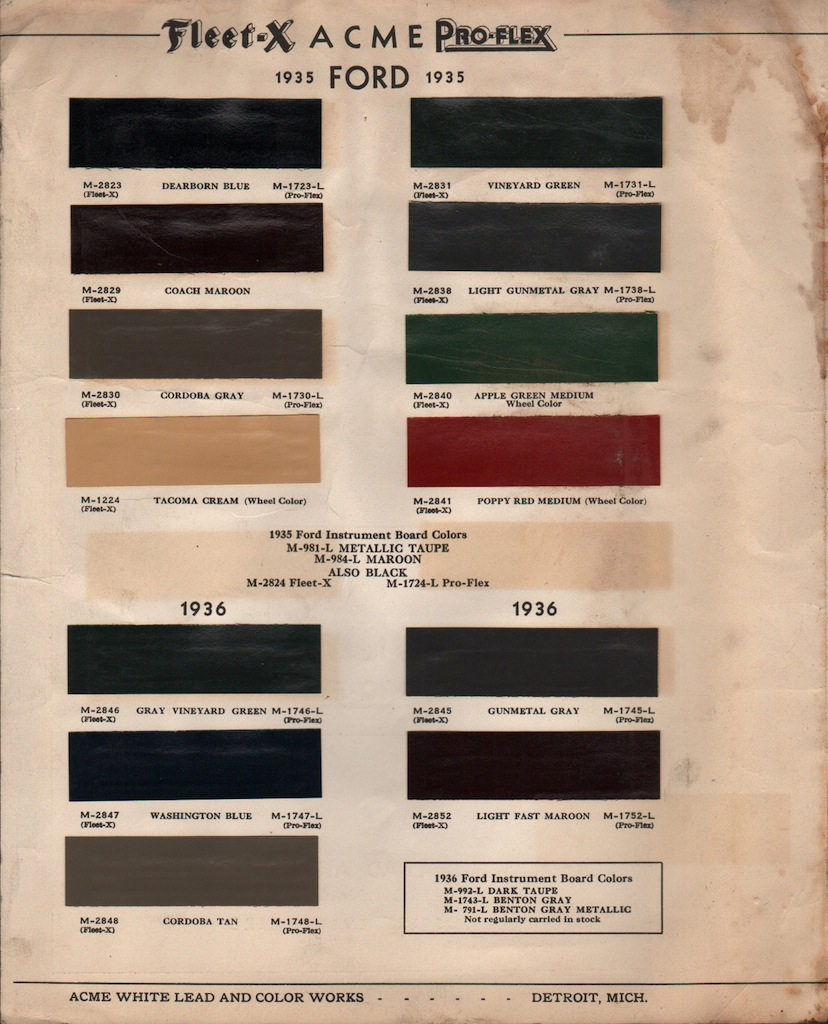 Ford exterior acme page paint chips apps directories