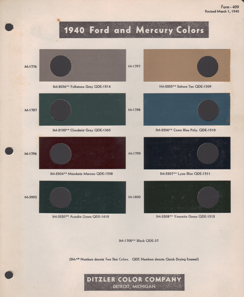 Paint Chips 1940 Ford Mercury