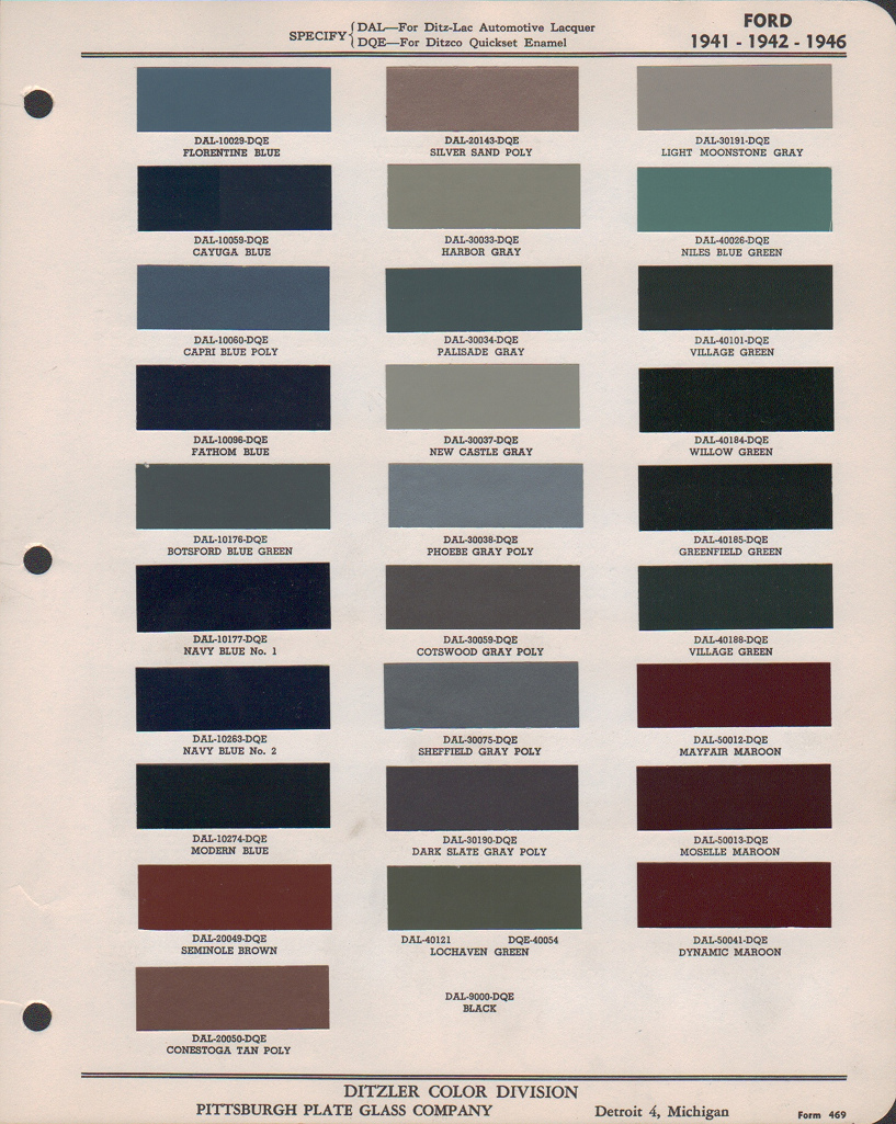 Paint chips 1942 ford lincoln for Exterior house paint comparison chart