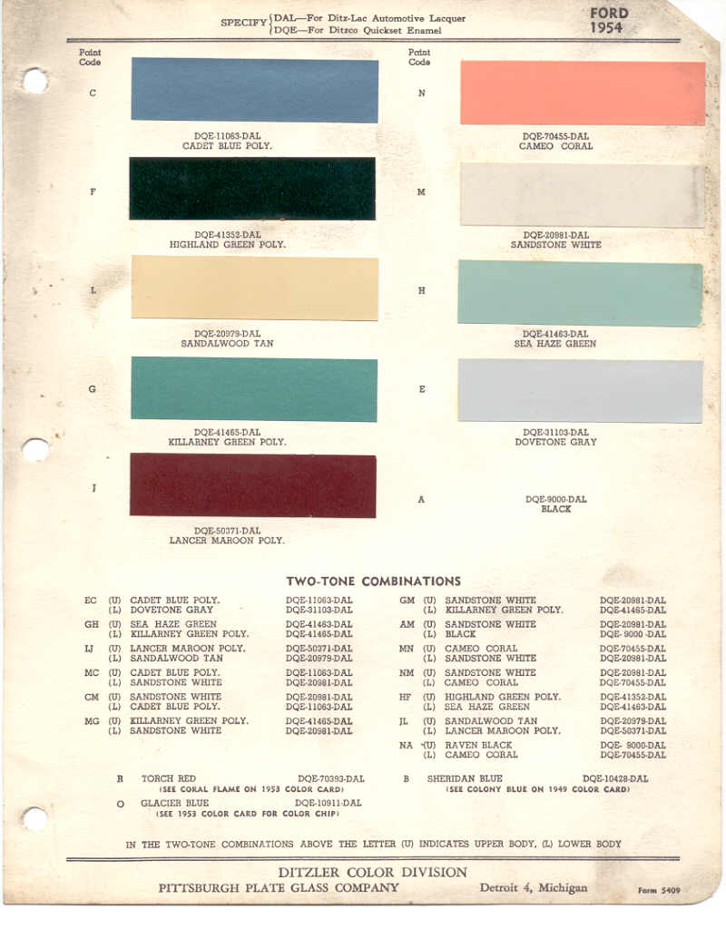 Paint chips 1954 ford truck lincoln mercury ford nvjuhfo Images