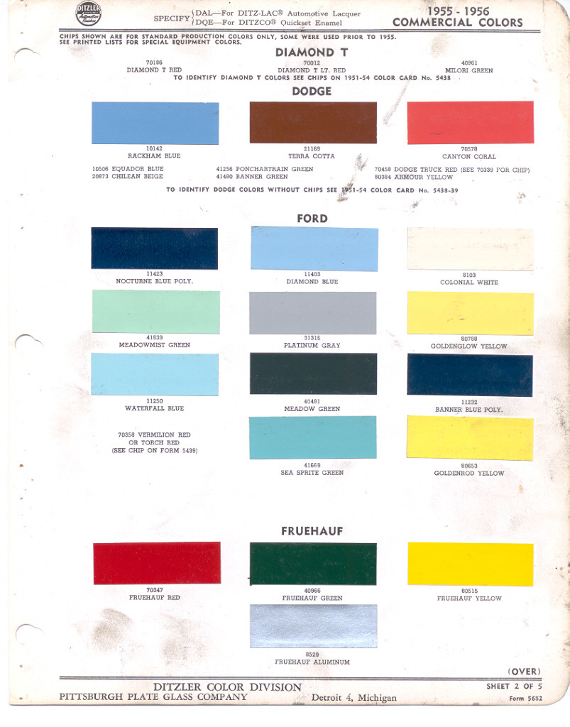 Paint chips 1955 fairlane ford truck lincoln mercury thunderbird ford nvjuhfo Images