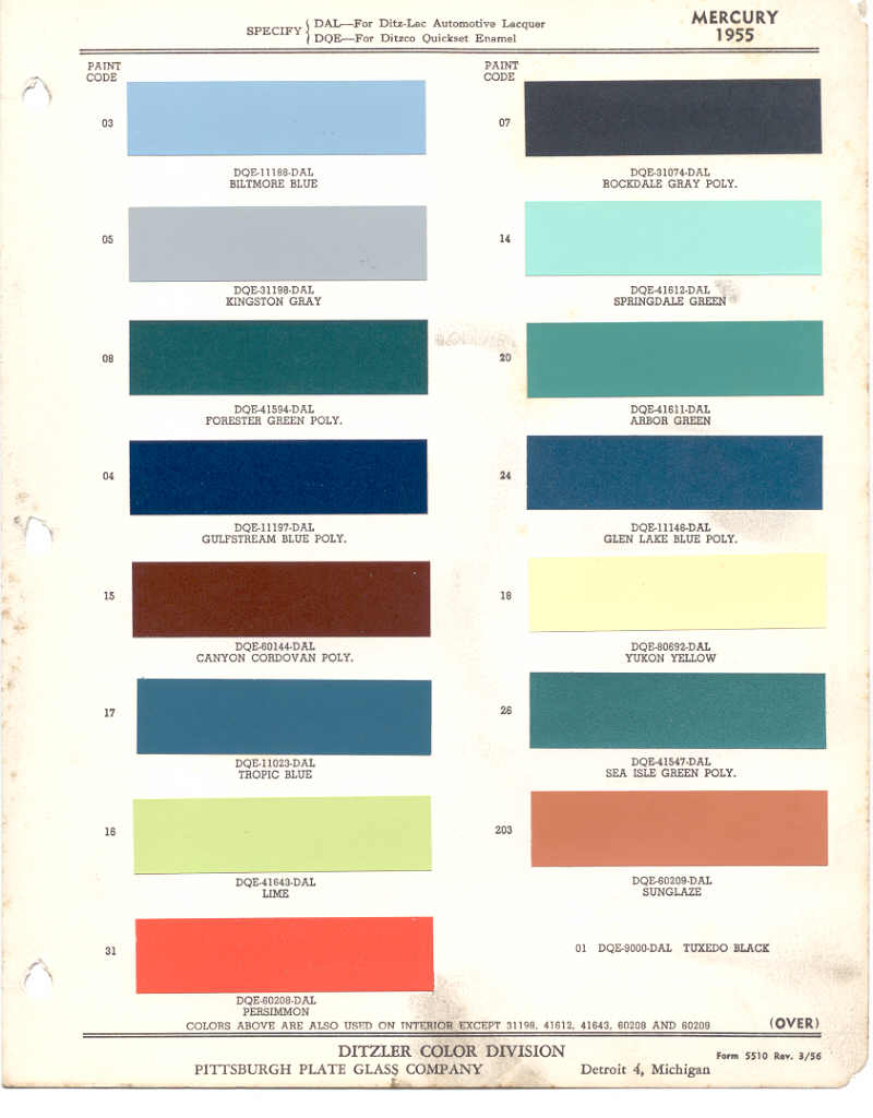 paint chips 1955 mercury