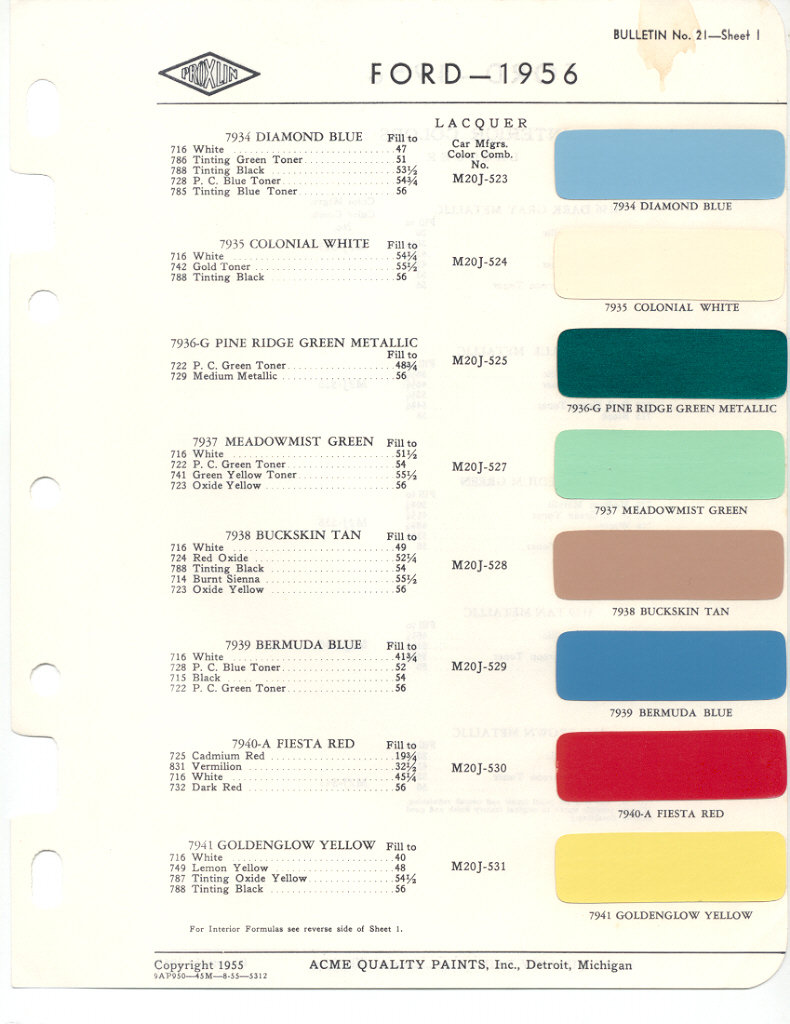 1956 Ford Color Chart