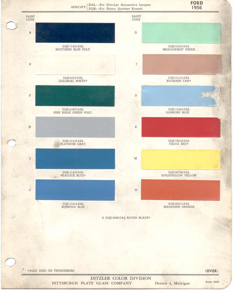 paint chips 1956 ford - Ford Truck Paint Colors