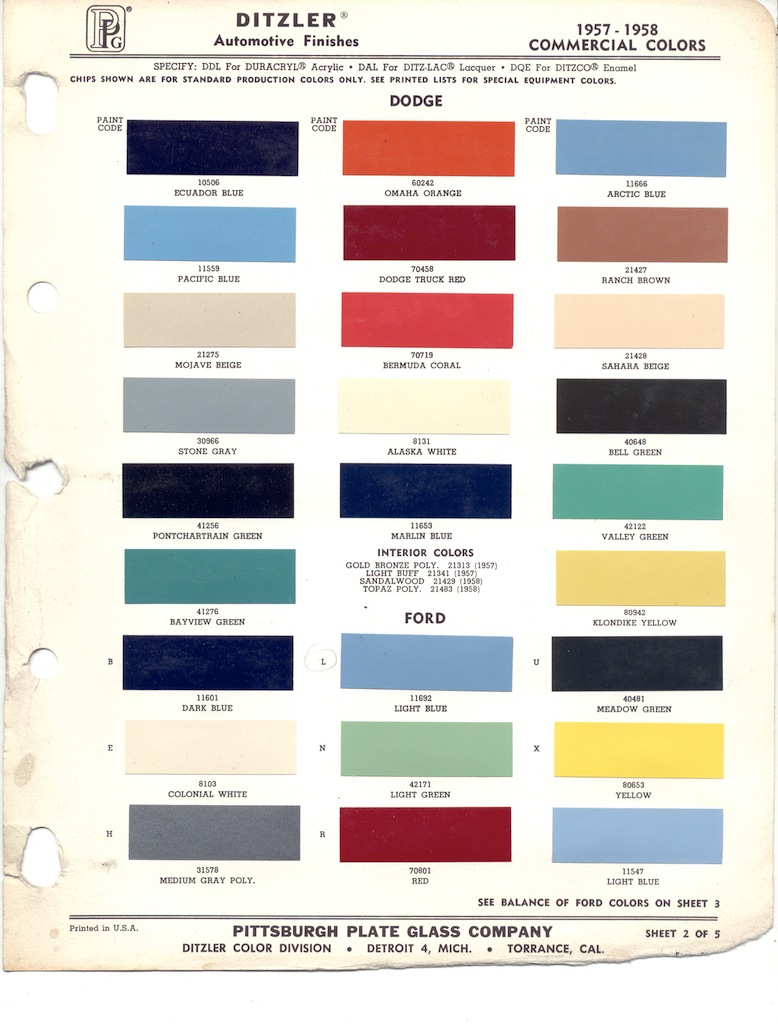 Paint chip pages are presented for research use only. Company marks ...