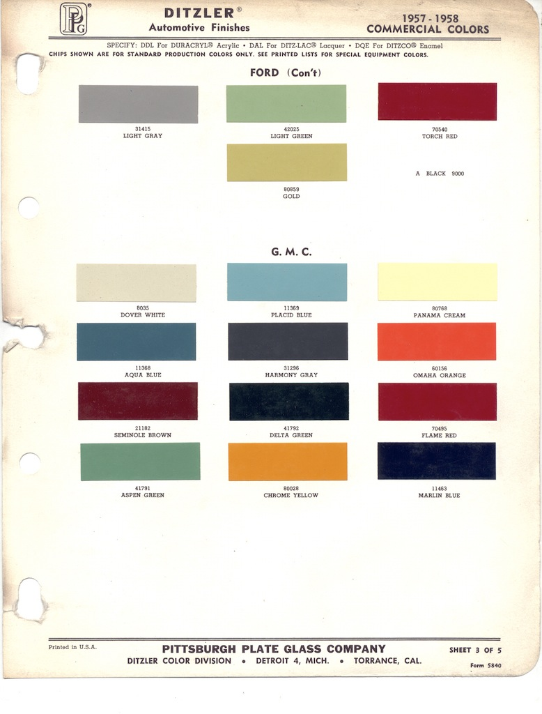 Page 5: 1958 Ford Truck exterior paint chips