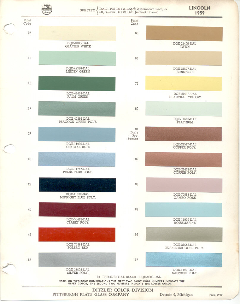 paint chips 1959 lincoln