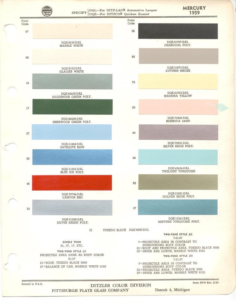 Interior paint colors chart - Paint Chips 1959 Mercury