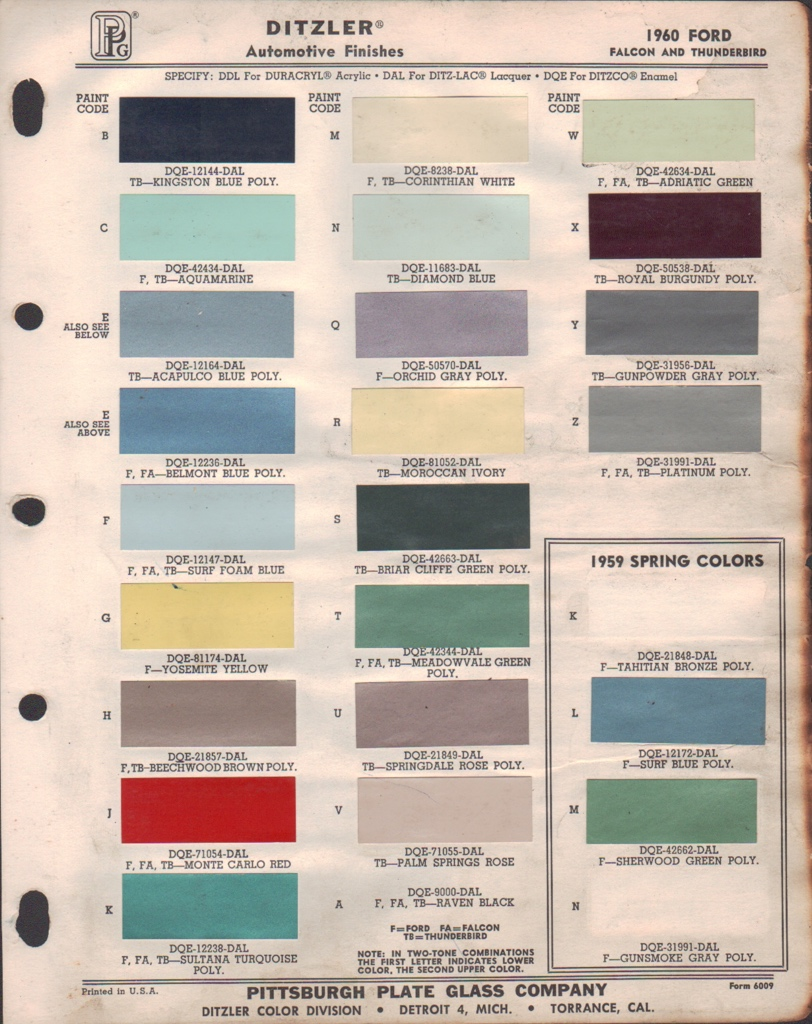 paint chips 1960 ford fairlane