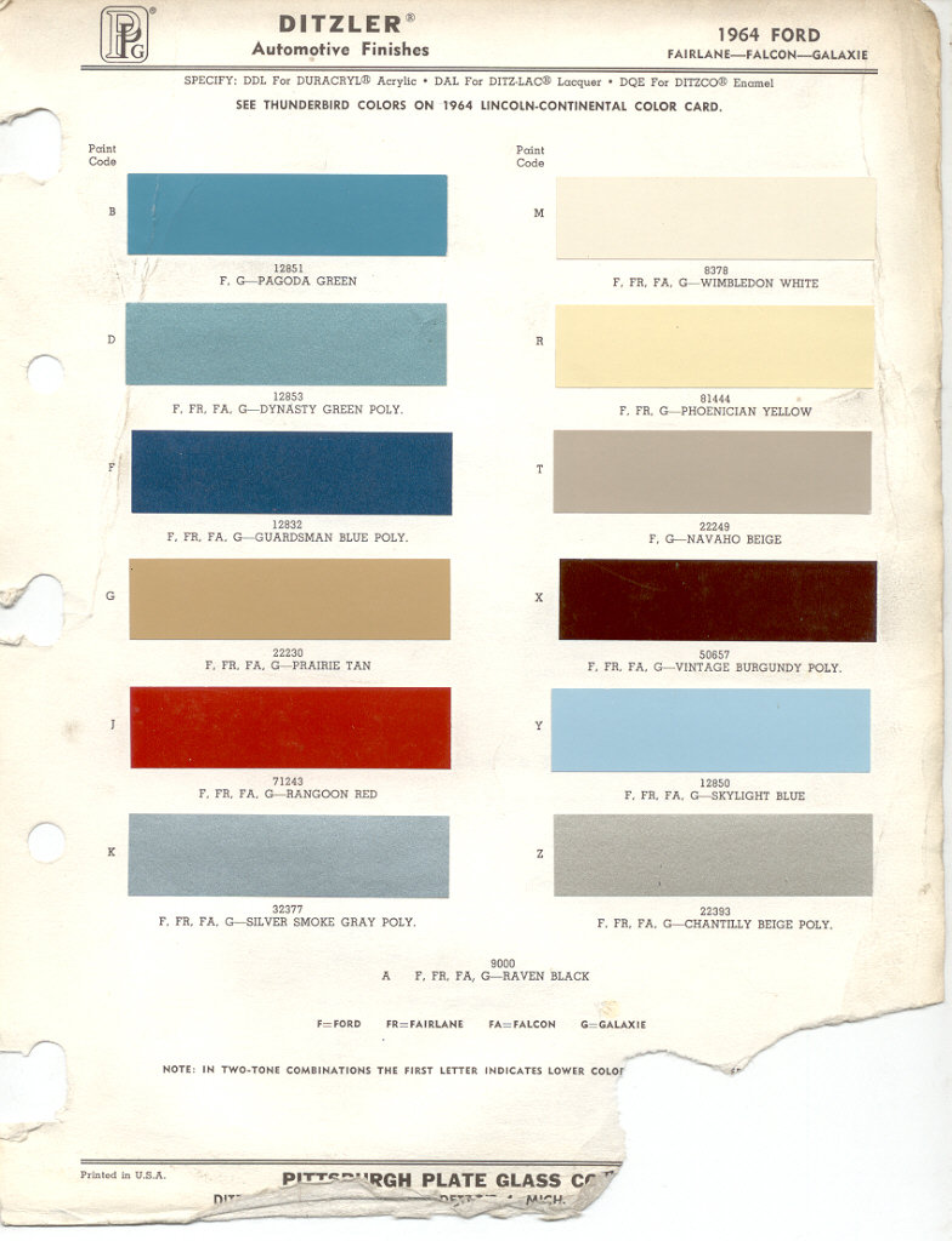 1964 ford paint chips. Black Bedroom Furniture Sets. Home Design Ideas