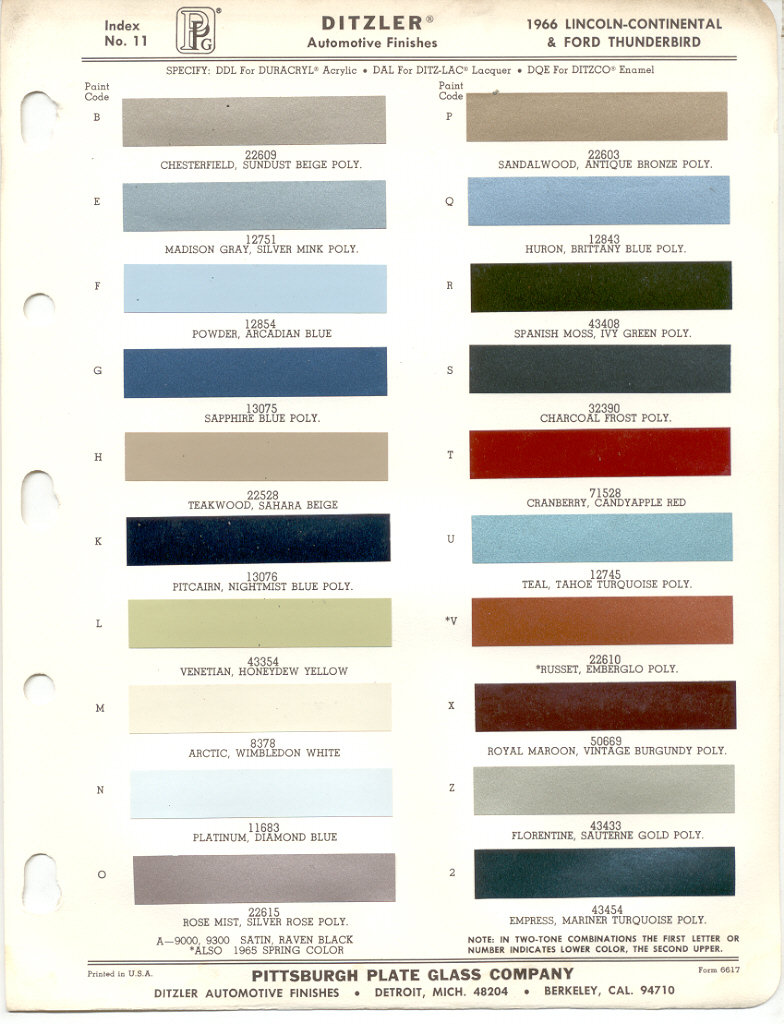paint chips 1966 ford thunderbird lincoln mercury mustang. Black Bedroom Furniture Sets. Home Design Ideas