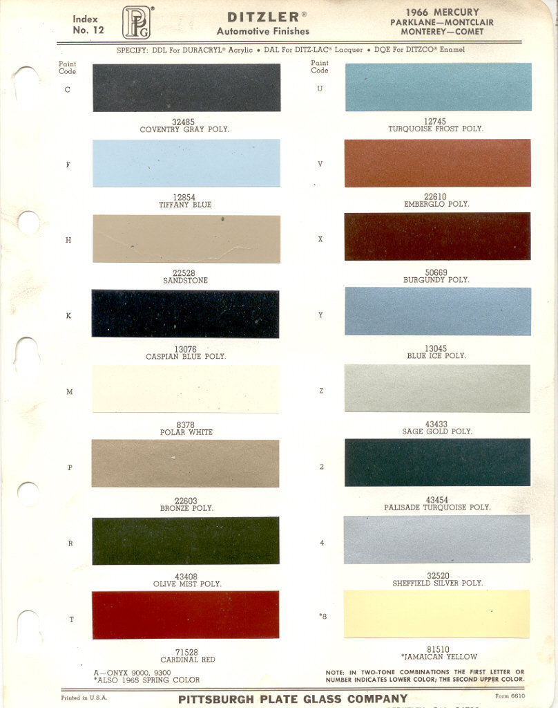 paint chips 1966 mercury