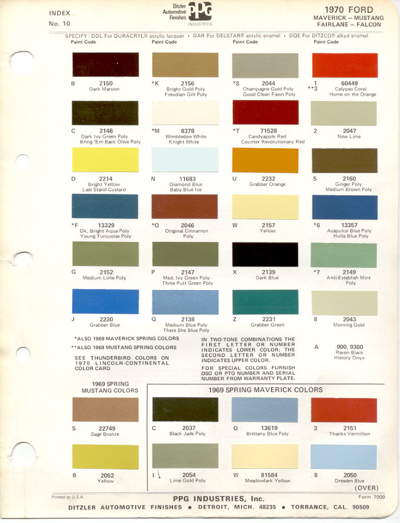 Ford car colour codes uk