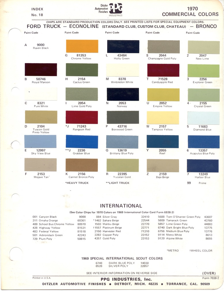 1973 ford truck paint codes