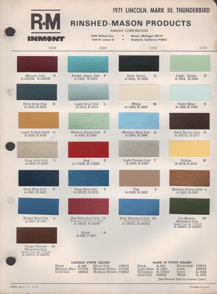paint chips 1971 lincoln markiii thunderbird