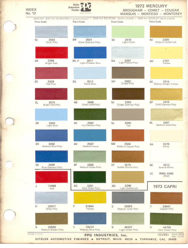 Mercury Capri Paint Colors
