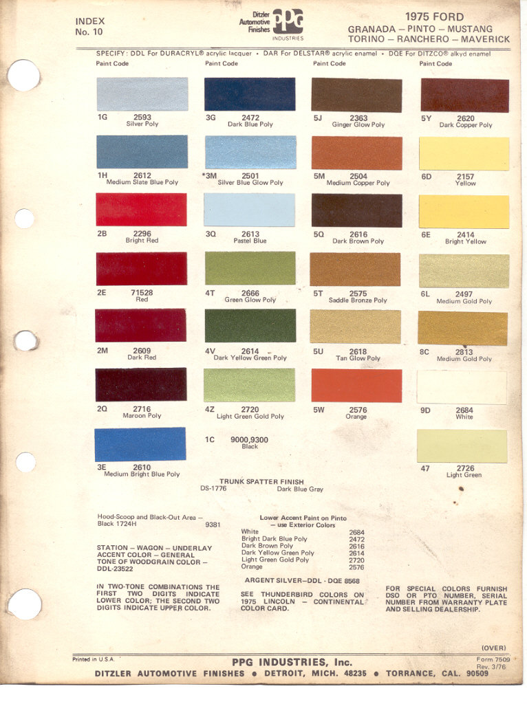 Ford Exterior Paint Codes Part - 36: PaintRef.com