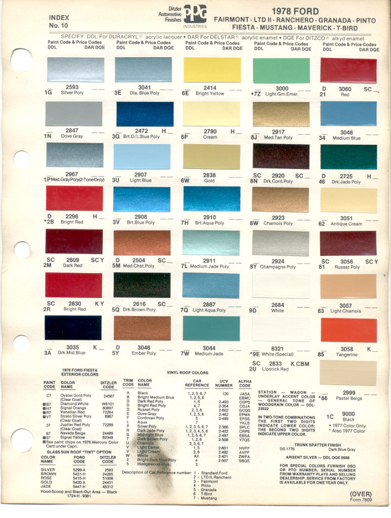 Paint chips 1978 ford fairmont ltd ii rancero granada pinto fiesta mustang maverick thunderbird