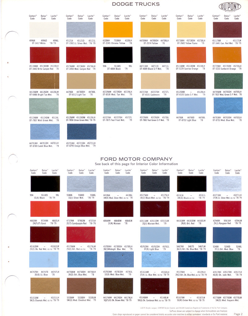 1979 chrysler dodge plymouth paint chips dupont