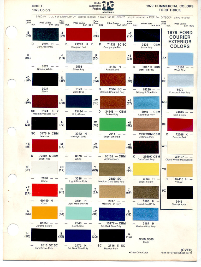 1978-79 Bronco color codes - 7879BlueOvalBronco.com - Ford Bronco and