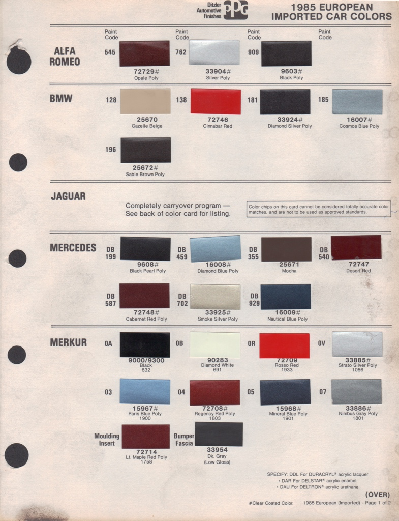 paint chips 1985 ford merkur