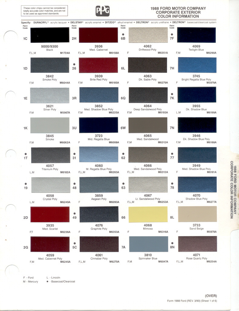 Amazing Ford Exterior Paint Codes Part - 7: Paint Chip Pages Are Presented For Research Use Only. Company Marks,  Emblems, And Page Design Are Trademarks And/or Service Marks Of PPG.