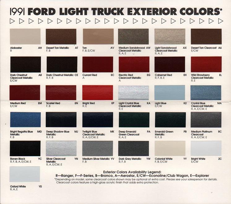 1997 Colors ford paint ranger