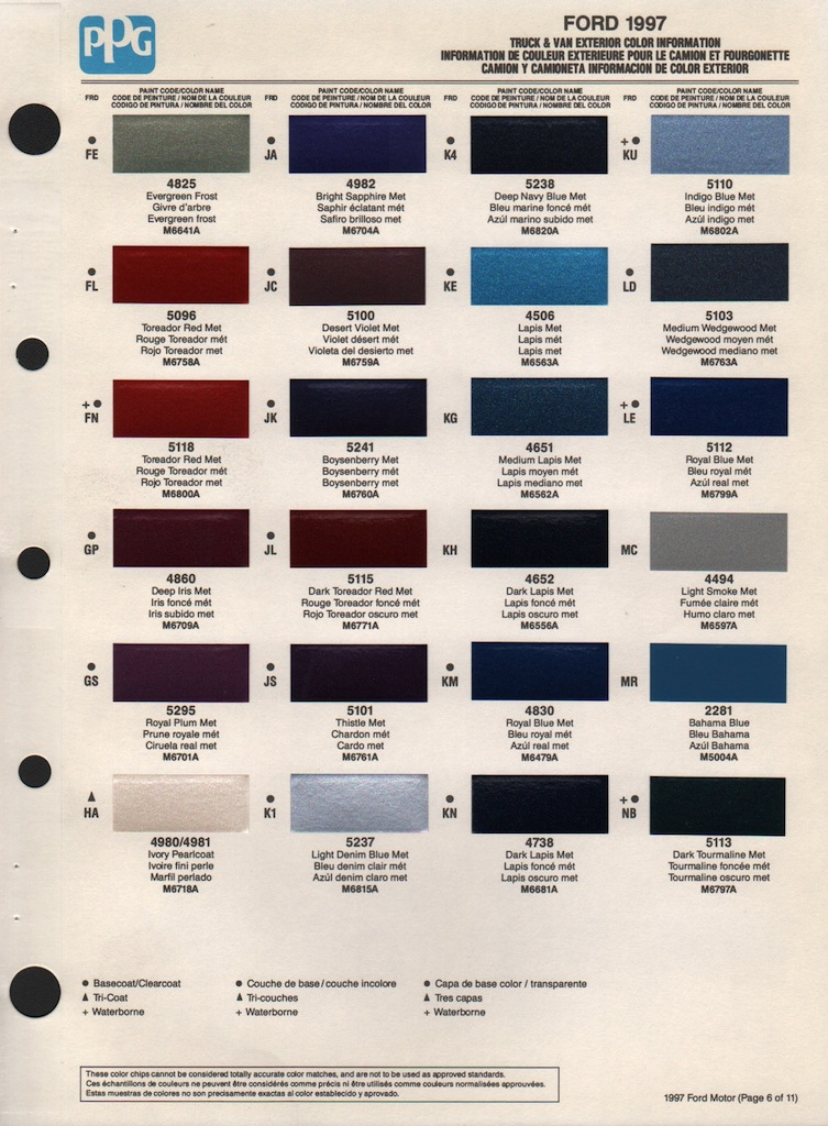 1997 Ford Paint Colors
