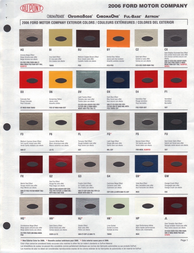 Ford Exterior Paint Codes Part - 46: Paint Chip Pages Are Presented For Research Use Only. Company Marks,  Emblems, And Page Design Are Trademarks And/or Service Marks Of Dupont.