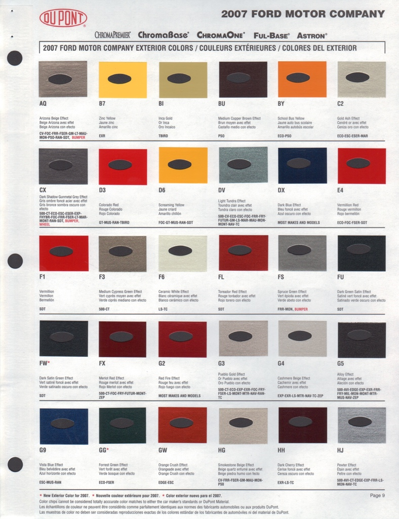 Exceptional Ford Exterior Paint Codes Part - 5: Paint Chip Pages Are Presented For Research Use Only. Company Marks,  Emblems, And Page Design Are Trademarks And/or Service Marks Of Dupont.