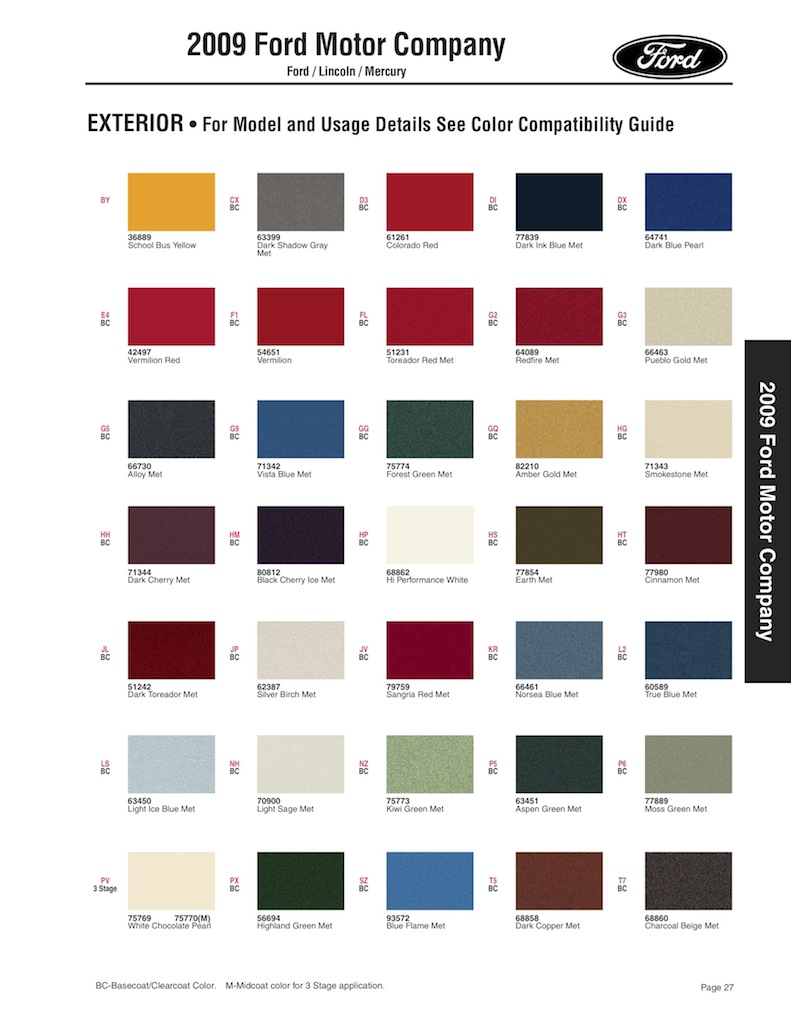 2009 ford edge color codes for Paint color chips