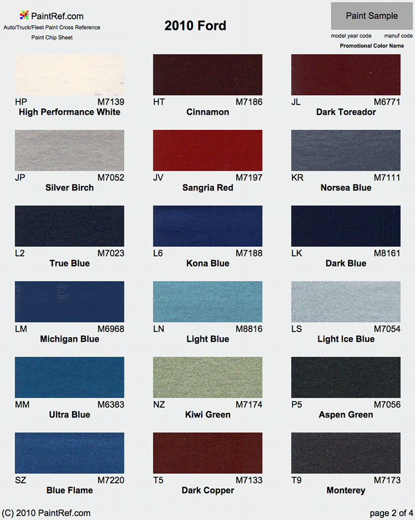 Paint chips 2010 ford crown victoria - Crown exterior paint colour chart style ...