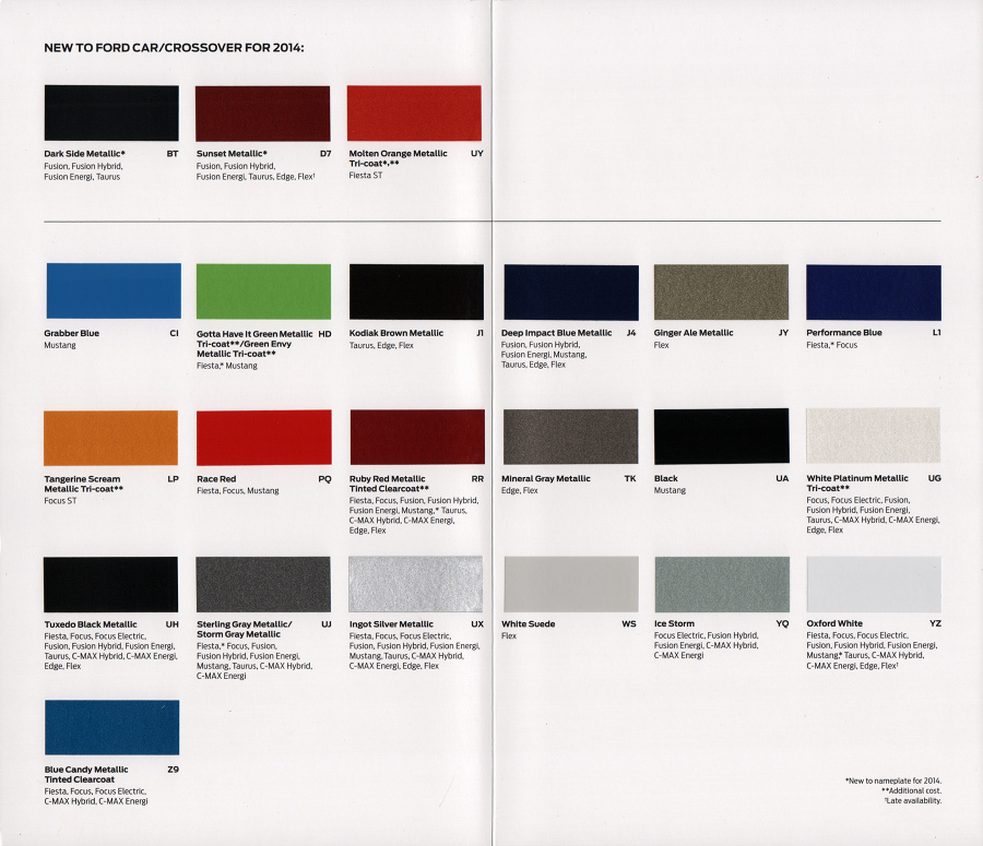 2014 ford escape color chart car interior design. Black Bedroom Furniture Sets. Home Design Ideas