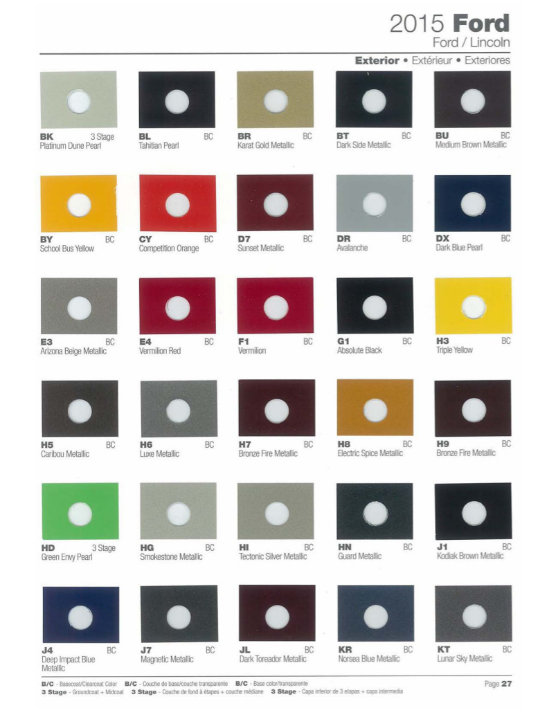 2015 Ford Explorer Color Chart >> Paint Chips 2015 Ford F150