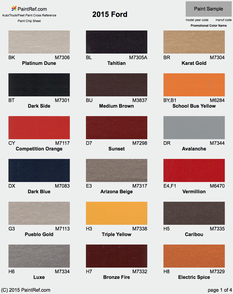2016 Ford Exterior Color Chart on 2003 harley f150 interior