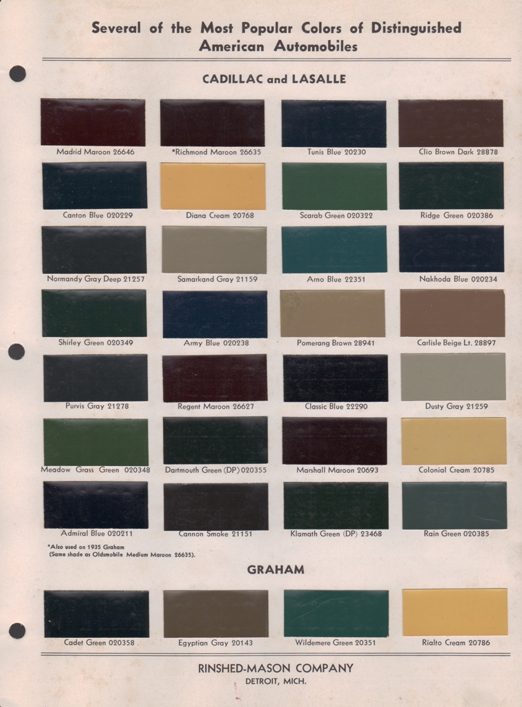 paint chips 1932 cadillac lasalle