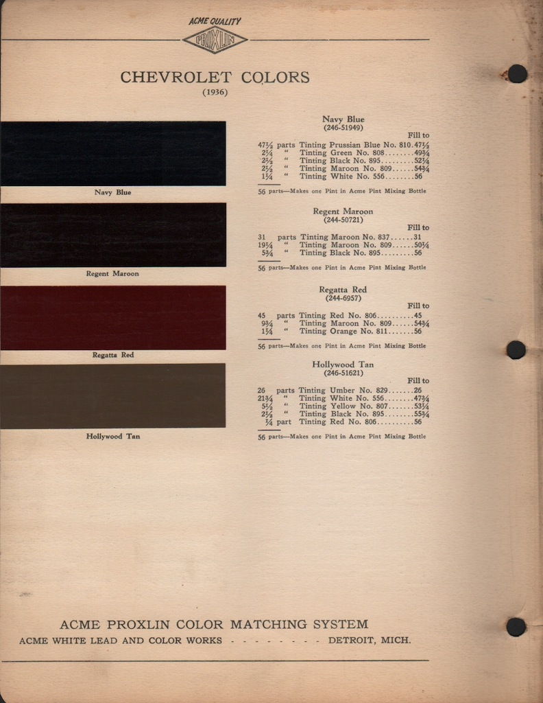Paint Chips 1936 Chevrolet